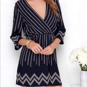 Navy Blue Dress w:white zigzags & vertical stripes